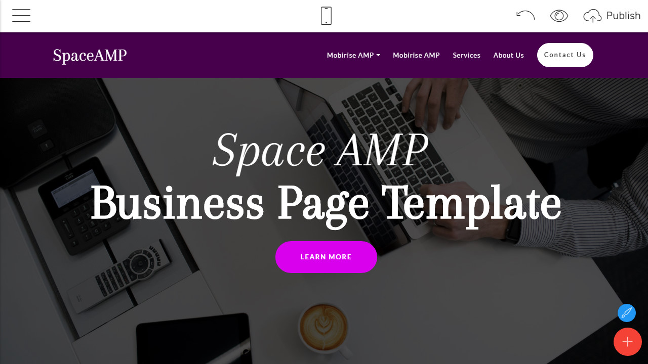 amp html website template overview